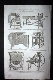 Hall 1789 Antique Print. New Invented Implements used in Husbandry